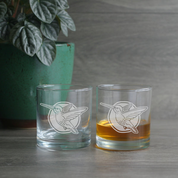 Hummingbird etched lowball glasses