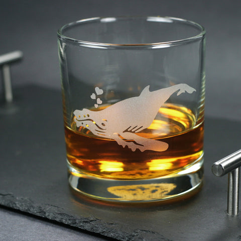 humpback whale lowball whiskey glasses by Bread and Badger