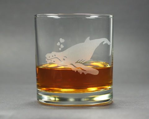 humpback whale lowball glass by Bread and Badger