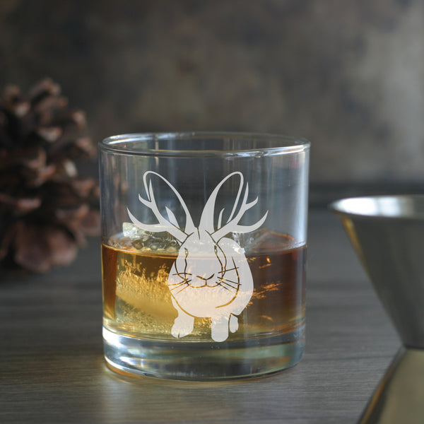 Jackalope lowball glass