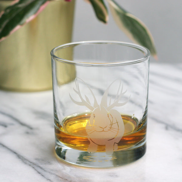 Jackalope rabbit lowball whiskey glass by Bread and Badger