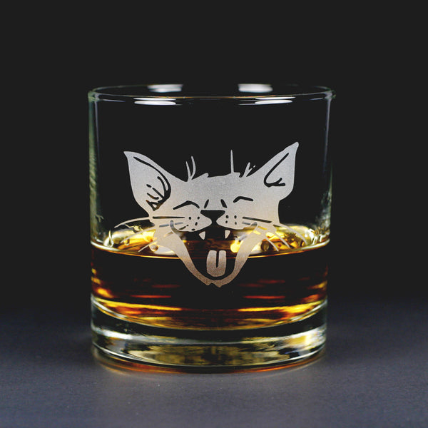 Laughing Cat Lowball etched glass