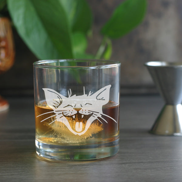 Laughing Cat etched lowball glass