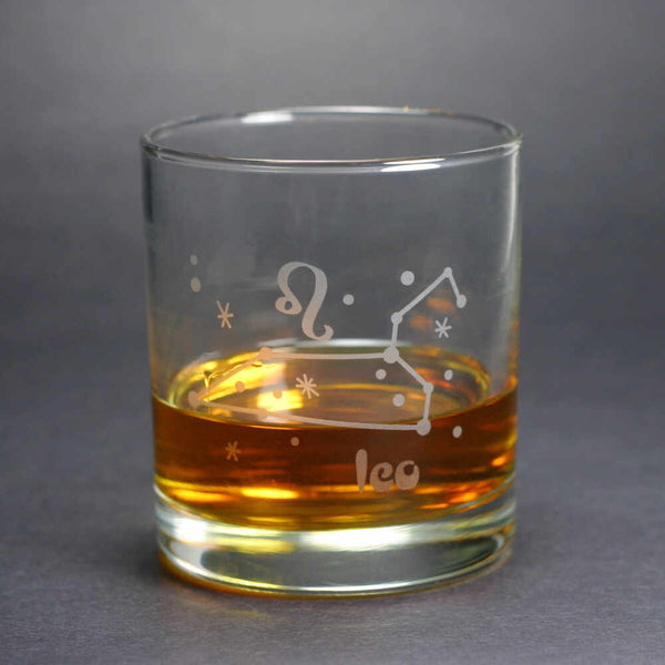 leo constellation lowball glass by Bread and Badger