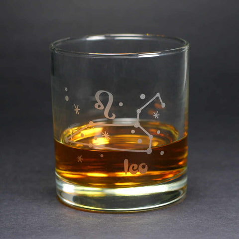 leo zodiac lowball glass by Bread and Badger
