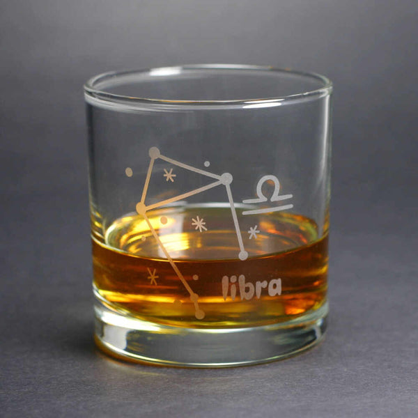 libra constellation lowball glass by Bread and Badger