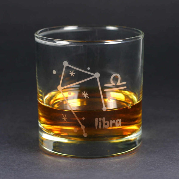 libra zodiac lowball glass by Bread and Badger