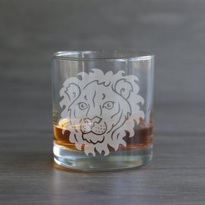 Lion lowball cocktail glass by Bread and Badger