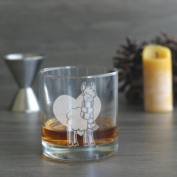 Alpaca etched lowball glass