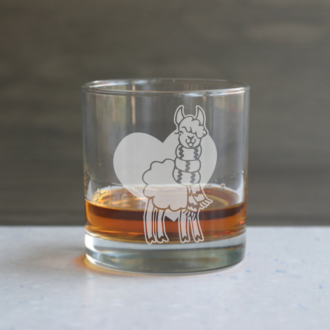 Llama etched lowball glasses
