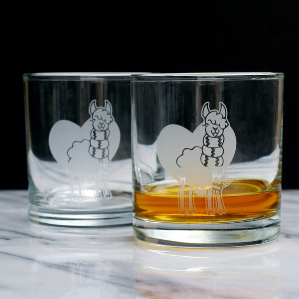 Llama whiskey glasses by Bread and Badger