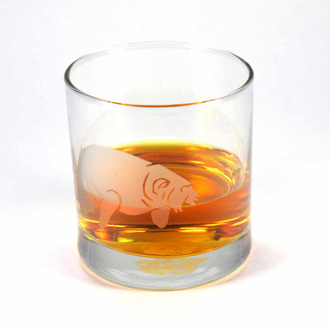 Manatee etched lowball whiskey glass