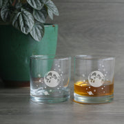 moon and stars etched lowball glasses
