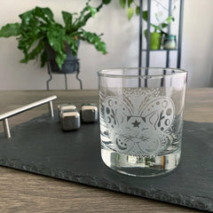 Moth Cat etched scotch glass by Bread and Badger