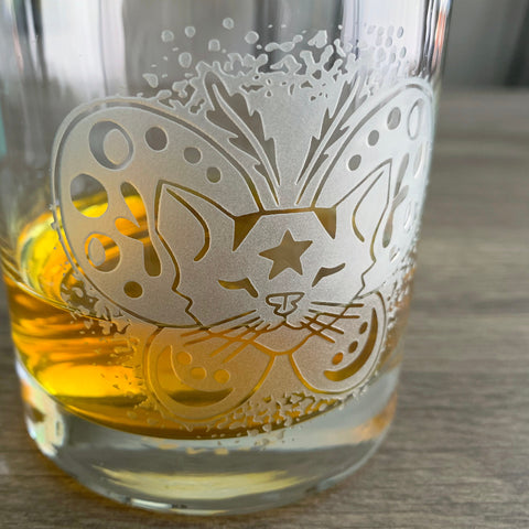 Moth Cat engraved lowball glass by Bread and Badger