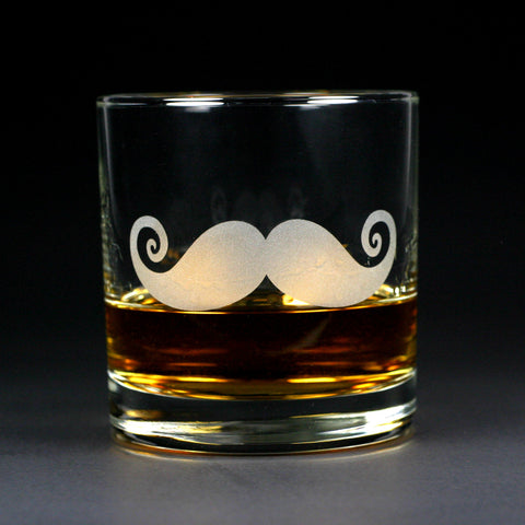 Mustache lowball etched glass