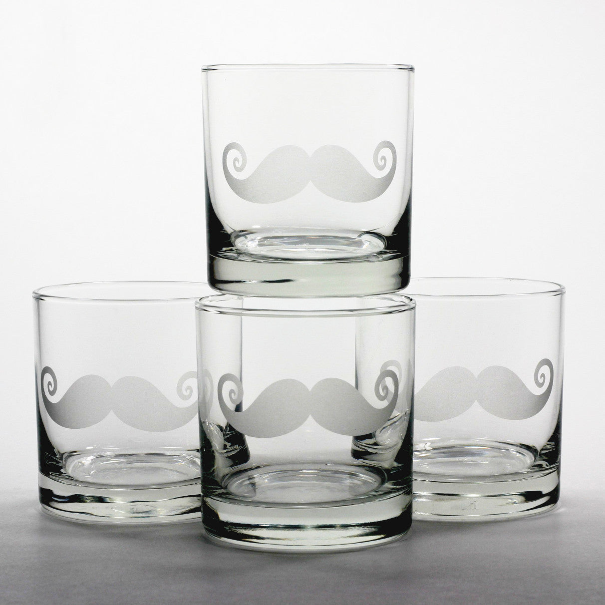 mustache scotch whiskey glass set