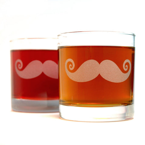 mustache etched lowball glasses