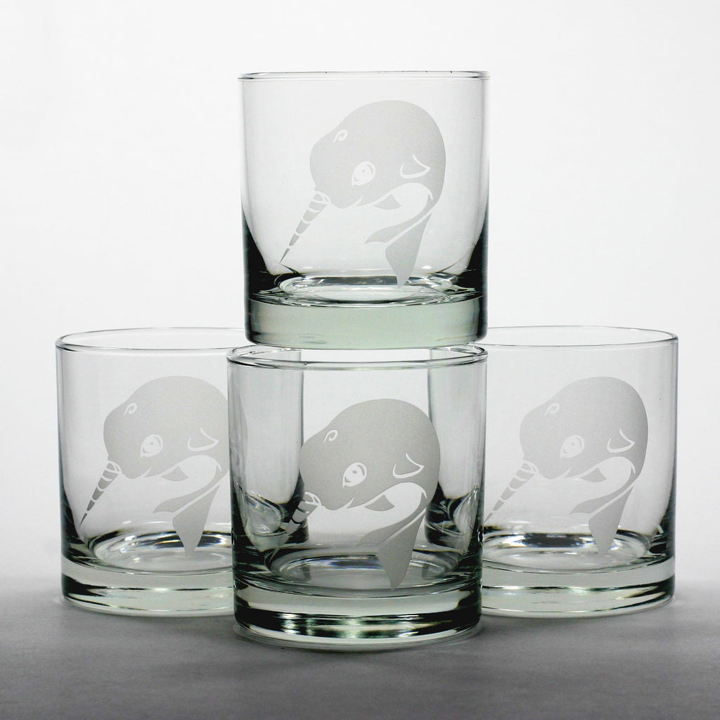 4 Narwhal scotch whiskey glasses