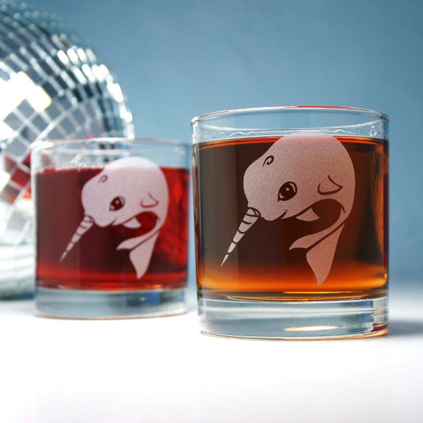 narwhal etched lowball glasses