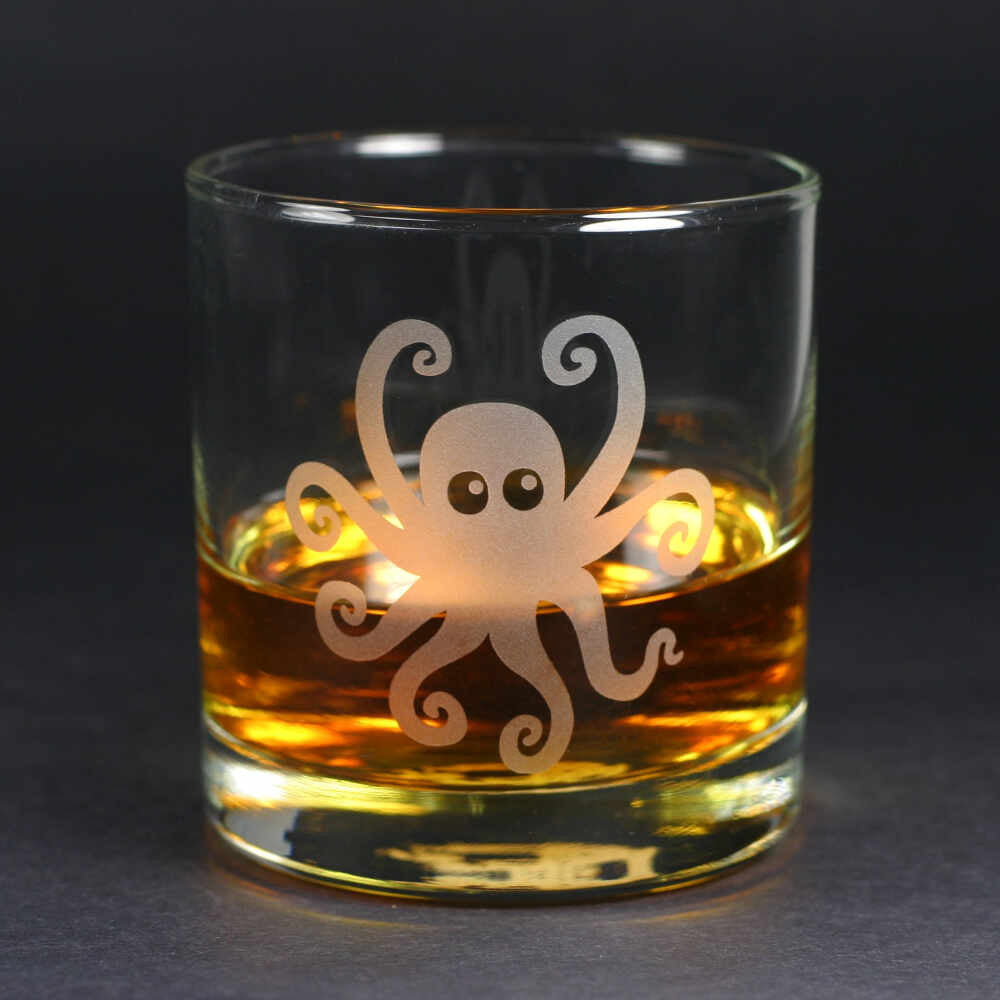 octopus lowball glass by Bread and Badger