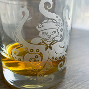 Octopus Cat engraved lowball glass by Bread and Badger