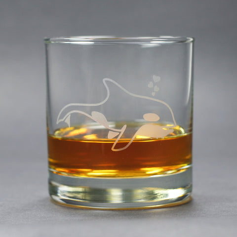 killer whale lowball glass by Bread and Badger