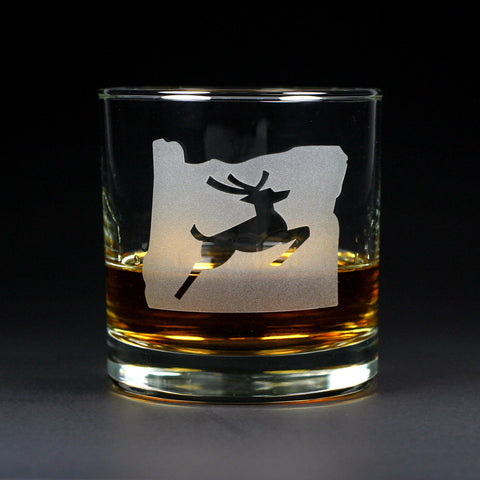 Oregon Stag etched lowball glass