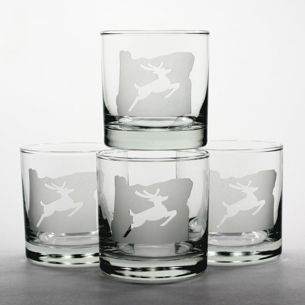 4 Oregon stag lowball whiskey glasses