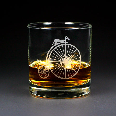 Penny Farthing Bike Lowball Glass