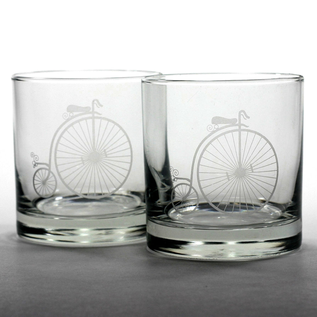vintage bicycle scotch whiskey glasses