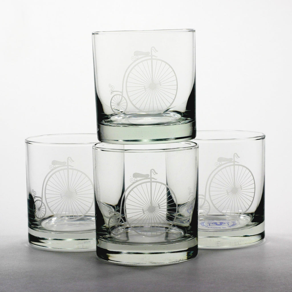 ordinary antique bicycle lowball glasses