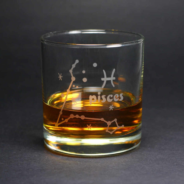 pisces zodiac lowball glass by Bread and Badger
