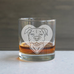 Pit Bull etched lowball glass