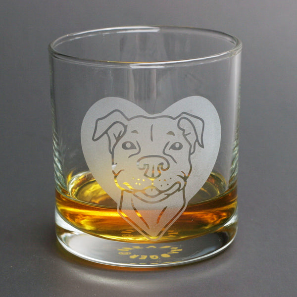 Pit Bull dog lowball glass by Bread and Badger