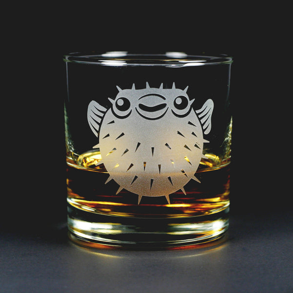 Puffer Fish lowball glass