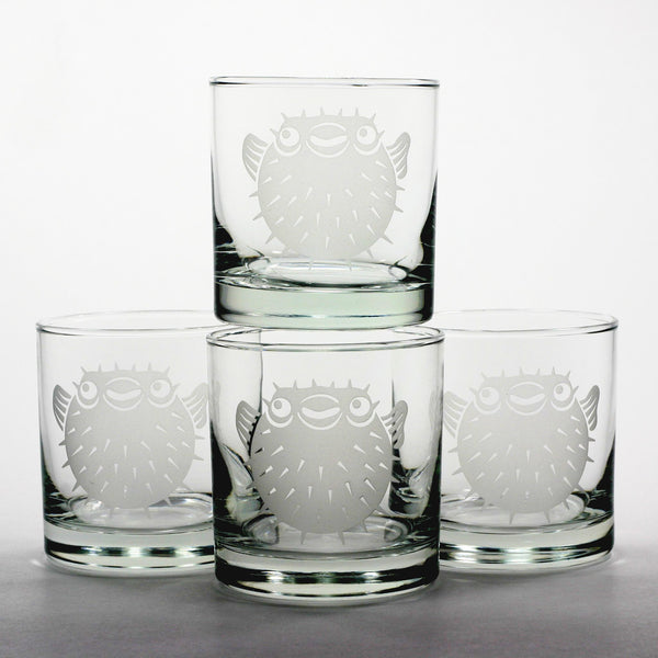 pufferfish etched lowball glasses