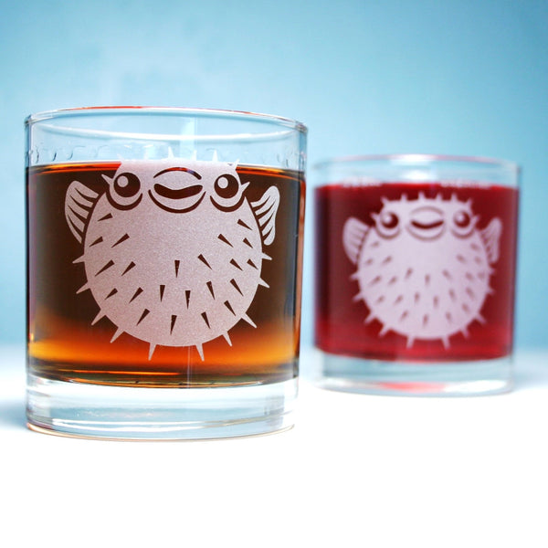 set of puffer fish lowball glasses