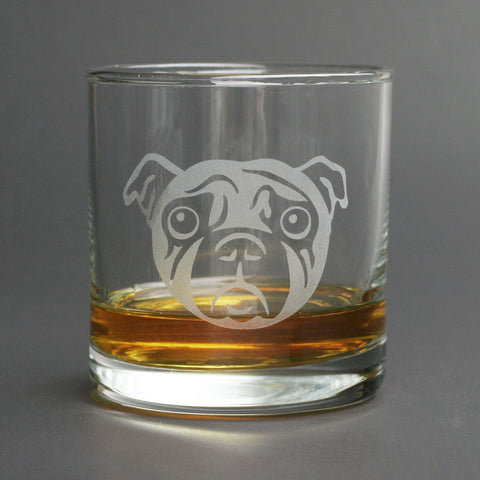 Pug dog lowball glass
