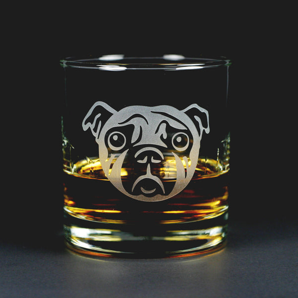 Sad Pug Dog etched lowball glass