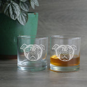 Pug etched lowball glasses