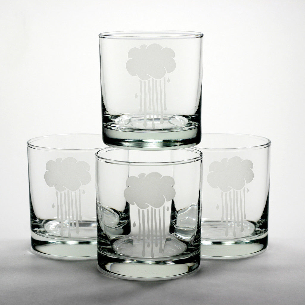 rain cloud lowball cocktail glasses