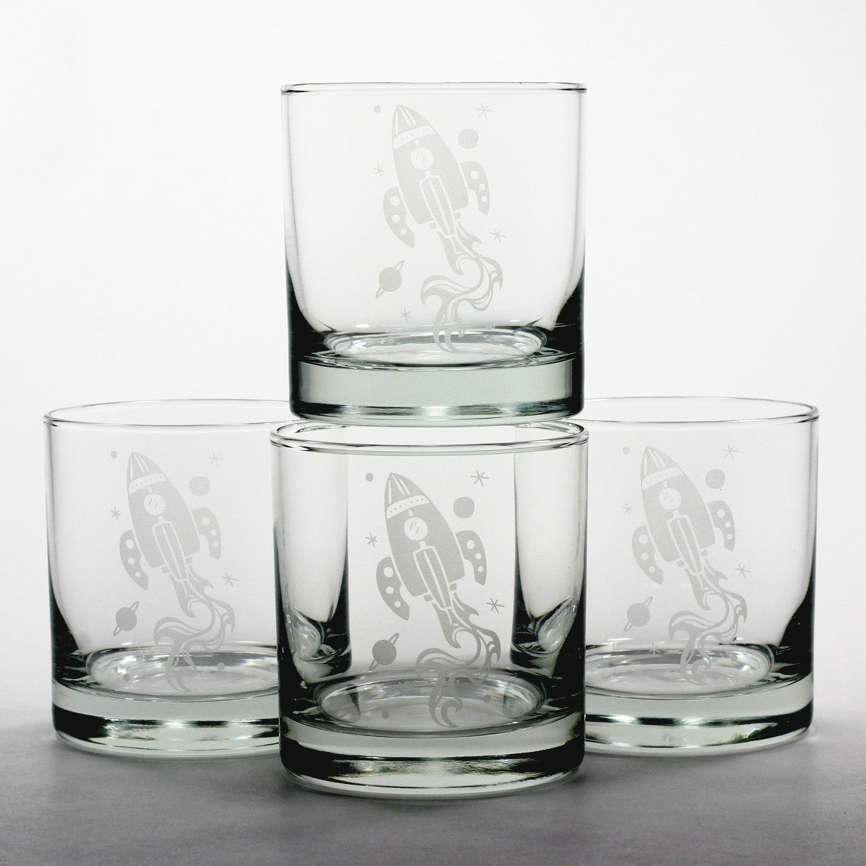 rocket ship etched scotch whiskey glasses