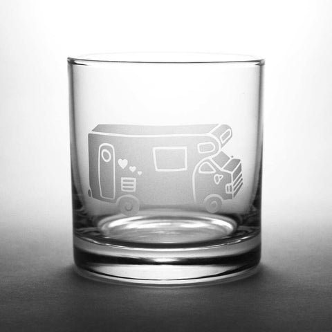 RV Camper Van etched whiskey glass