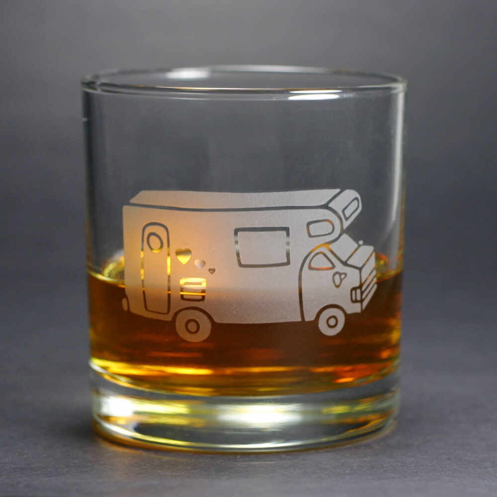 RV Camper Van lowball whiskey glass