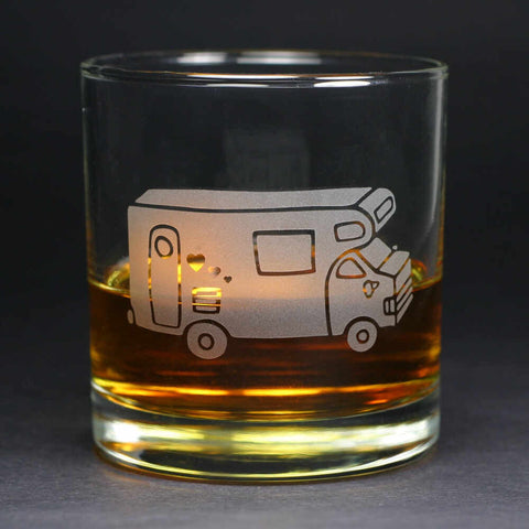 RV Camper Van scotch whiskey glass