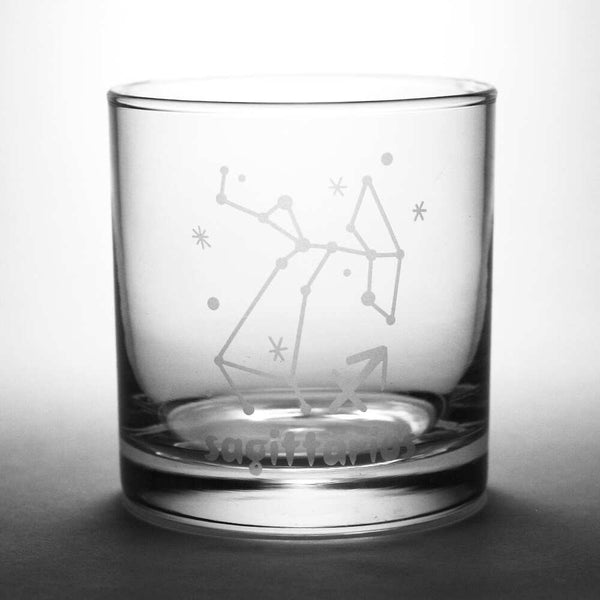 sagittarius lowball glass by Bread and Badger