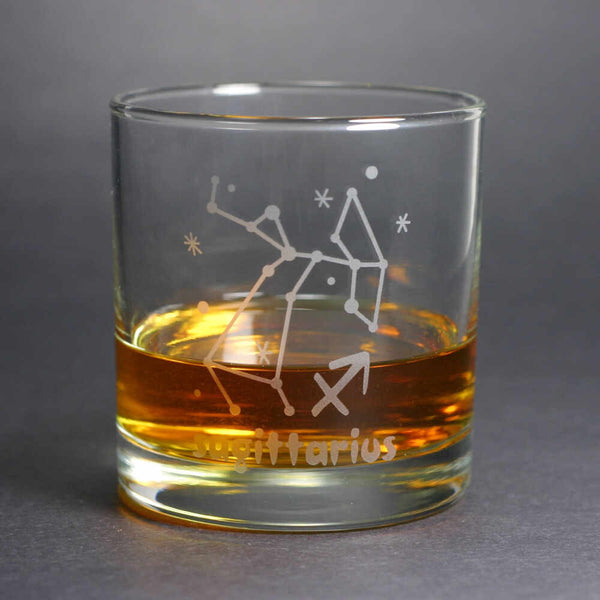 sagittarius constellation lowball glass by Bread and Badger