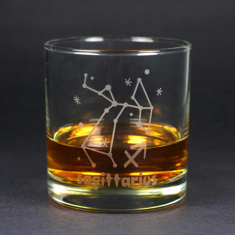 sagittarius zodiac lowball glass by Bread and Badger