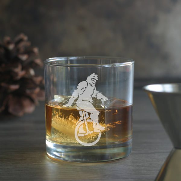 Sasquatch etched lowball glass